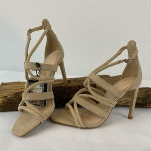 ZARA Tan/Taupe Suede Strappy Heels